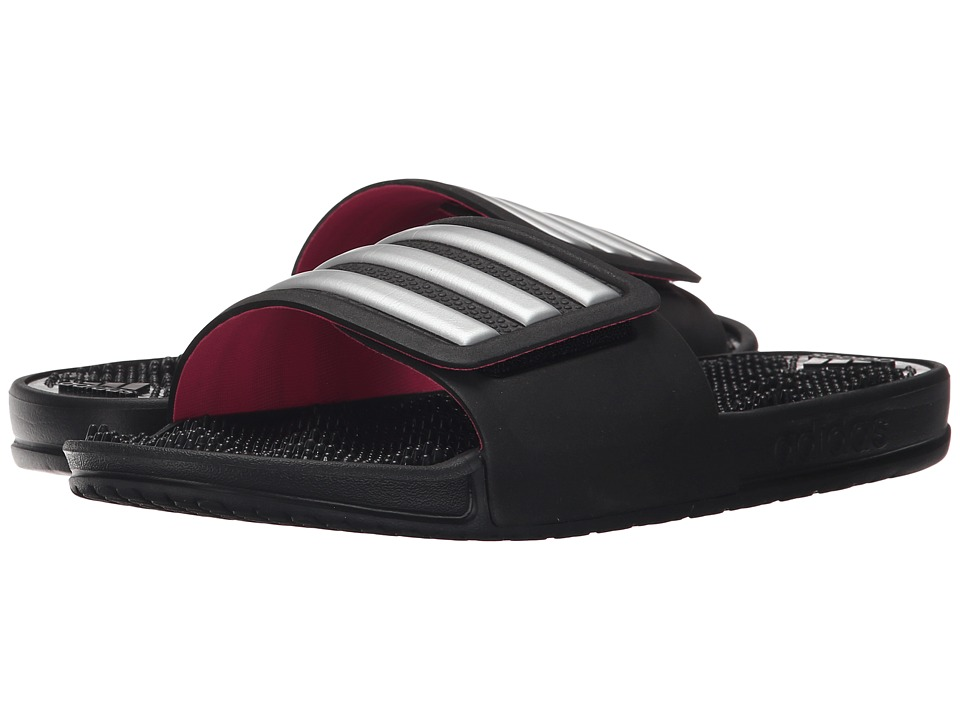 adidas - adissage 2.0 3-Stripes (Black/Silver Metallic) Women's Slide Shoes
