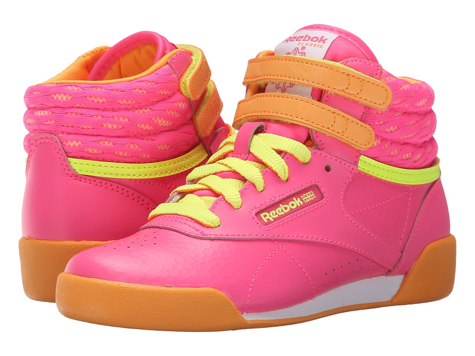 Reebok Kids - Freestyle Hi (Little Kid) (Solar Pink/Sunset Orange/Solar Yellow/White) Kid's Shoes