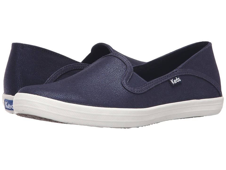 Keds - Crashback Metallic Canvas (Navy) Women's Slip on Shoes