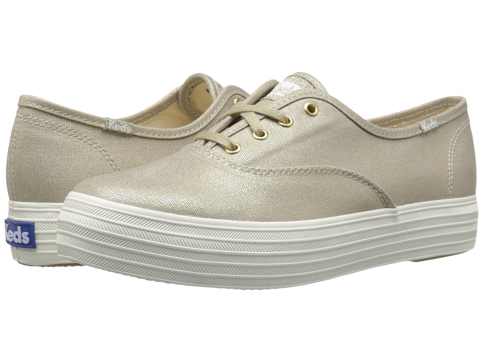 Keds - Triple Metallic Canvas (Gold) Women's Slip on Shoes
