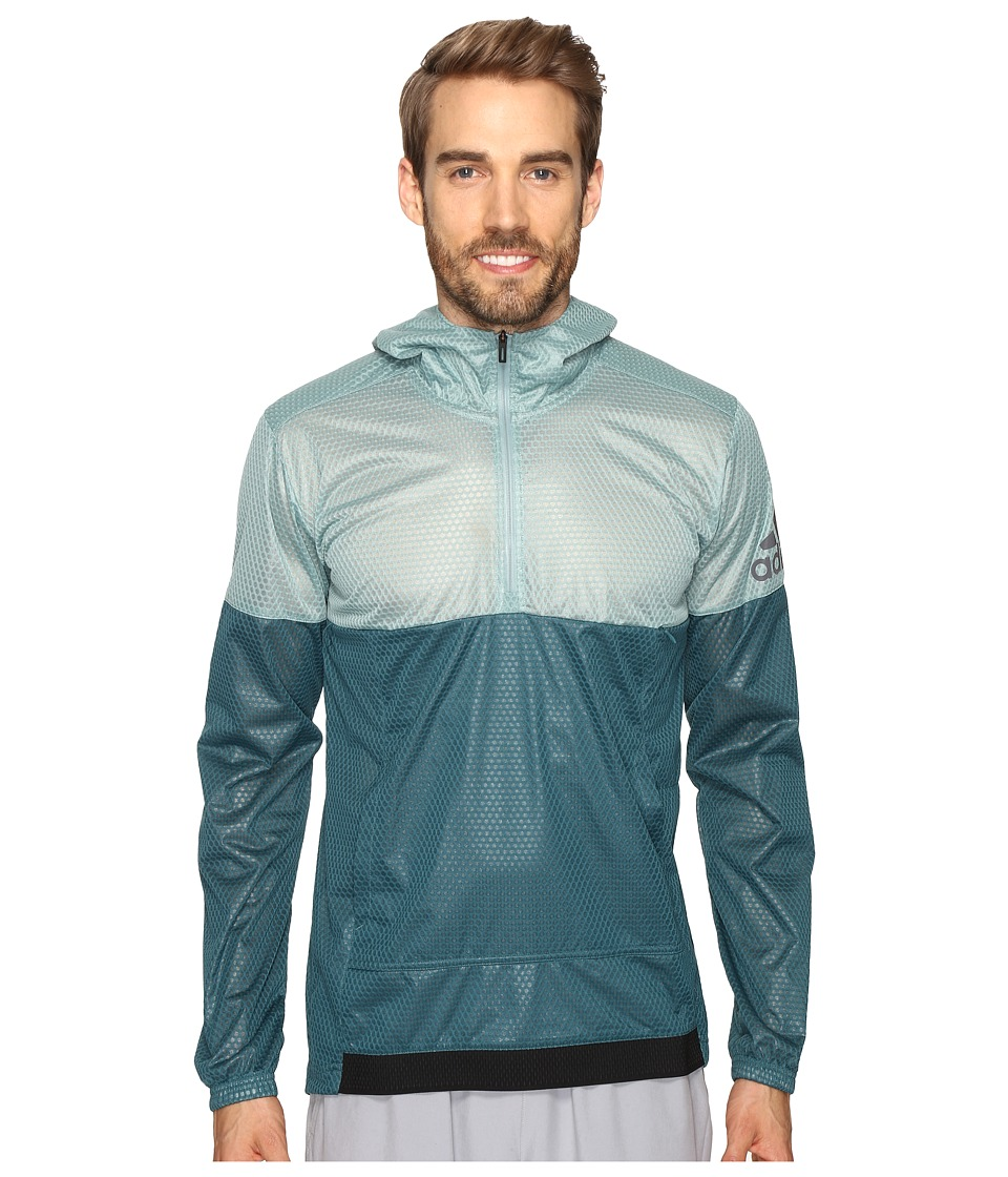 adidas - Climastorm Anorak (Vapour Steel/Tech Green) Men's Sweatshirt