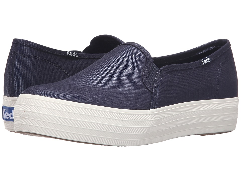 Keds - Triple Decker Metallic Canvas (Peacoat Navy) Women's Slip on Shoes