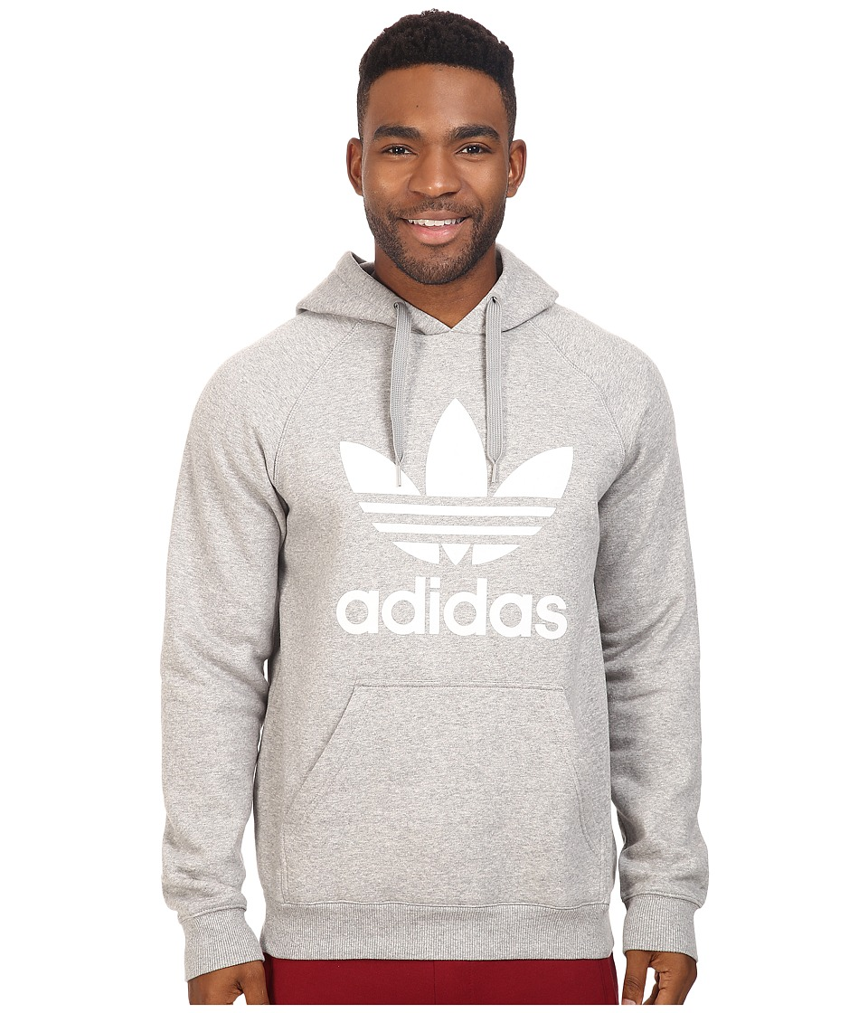 adidas Originals - Trefoil Hoodie (Medium Grey Heather/White) Men's Sweatshirt