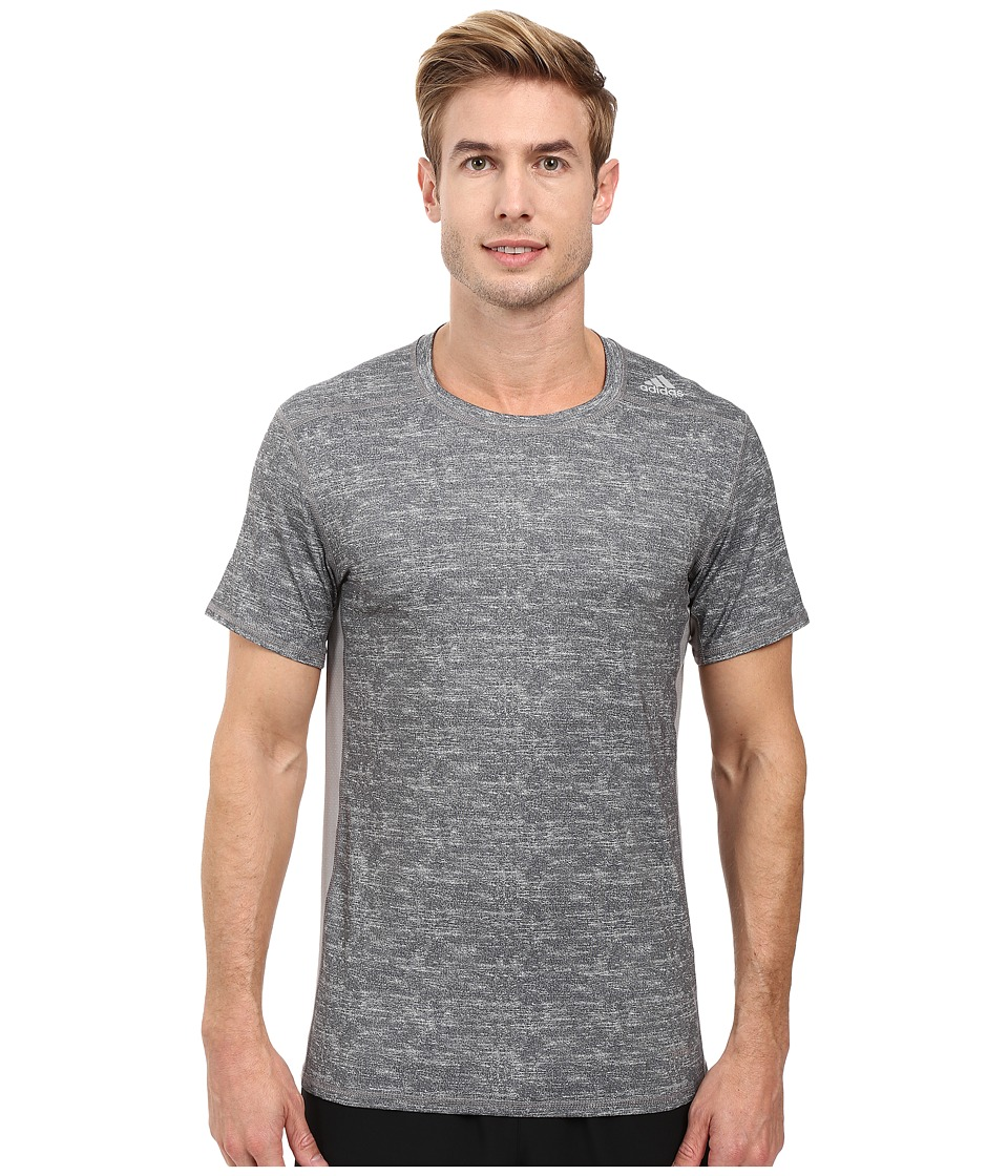 adidas - Techfit Base Fitted Short Sleeve Tee (Core Heather Print/Black) Men's Workout