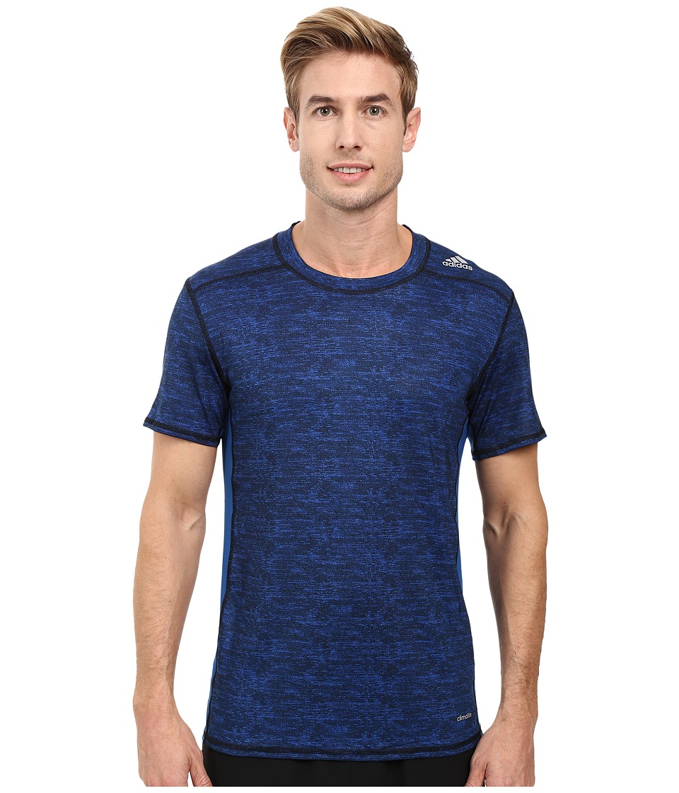 adidas - Techfit Base Fitted Short Sleeve Tee (Blue) Men's Workout