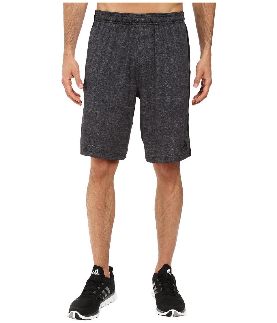 adidas - Team Issue 3-Stripes Heather Shorts (Black Heather/Black) Men's Shorts