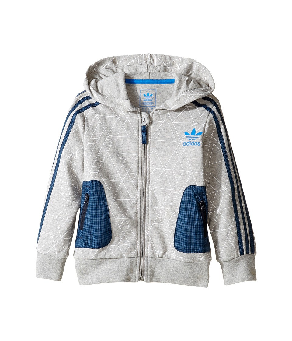 adidas Originals Kids - Hoodie (Little Kids/Big Kids) (Medium Grey Heather/White/Legend Ink/Bluebird) Boy's Sweatshirt