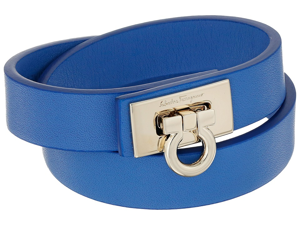 Salvatore Ferragamo - 345921 Gancet 2G Bracelet (Blue Indien/Oro) Bracelet