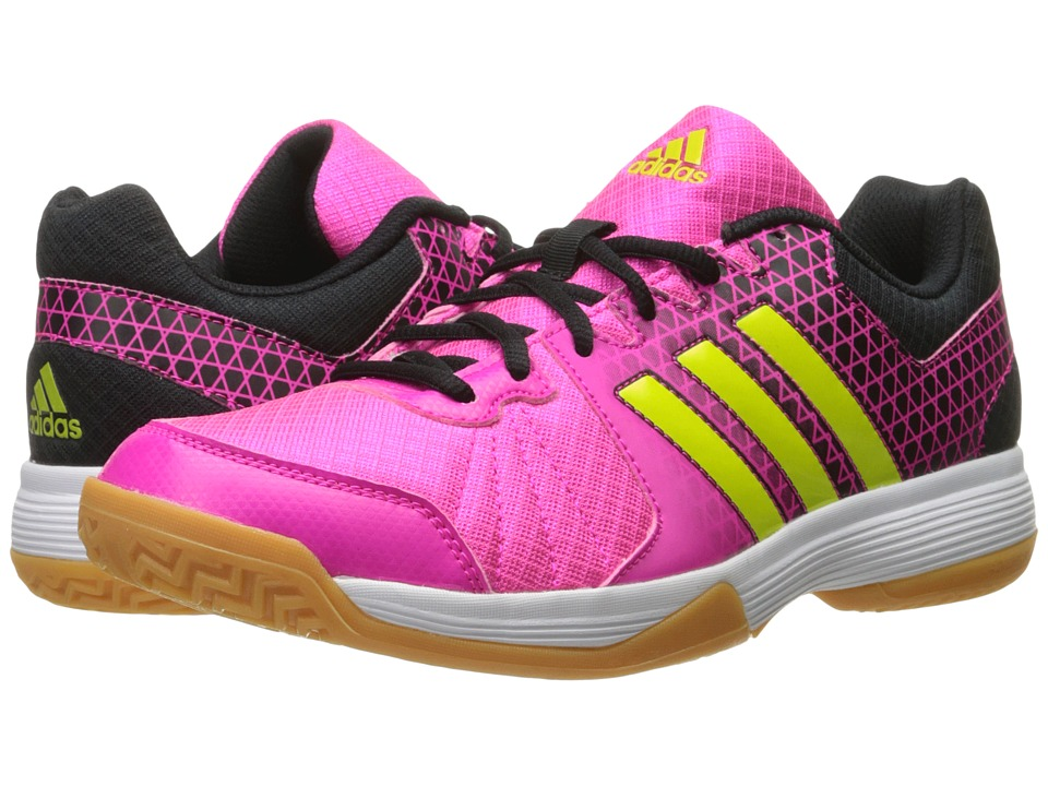 adidas - Ligra 4 (Shock Pink/Semi Solar Slime/Black) Women's Volleyball Shoes