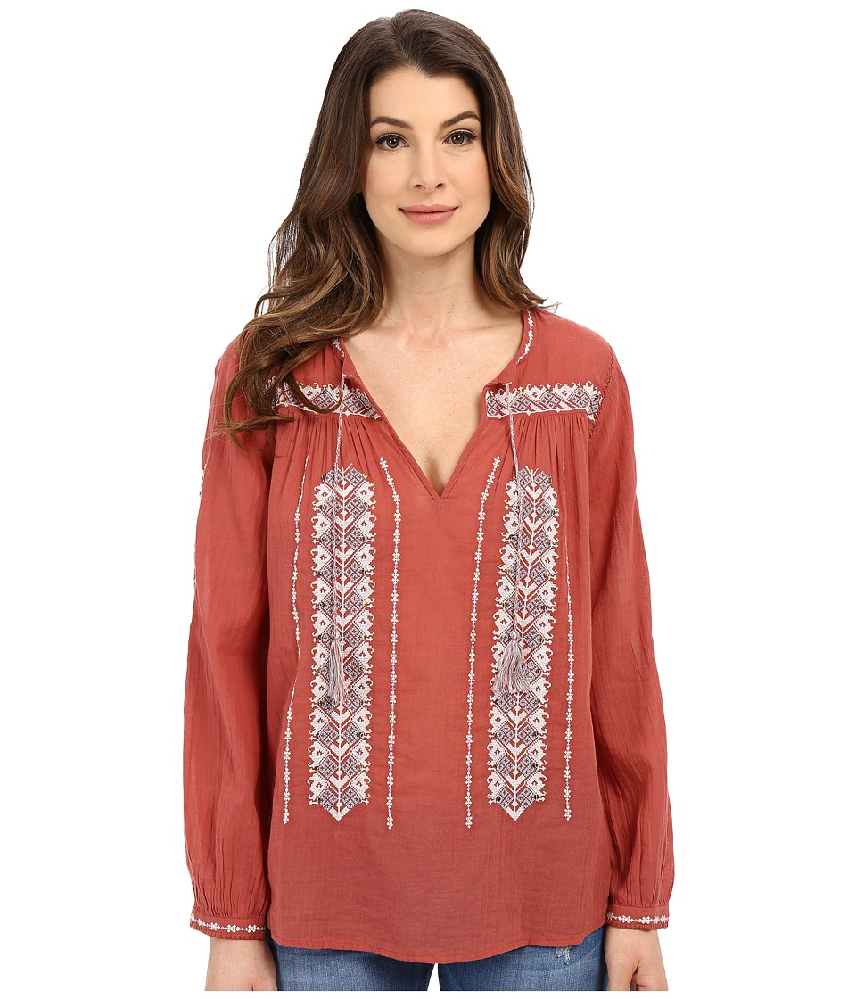 Joie - Tsoline Blouse (Burnt Terracotta/Porcelain) Women's Blouse