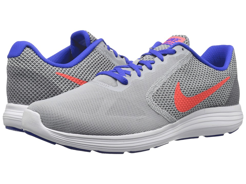 Nike - Revolution 3 (Wolf Gray/Total Crimson/Racer Blue/Dark Grey) Men's Running Shoes