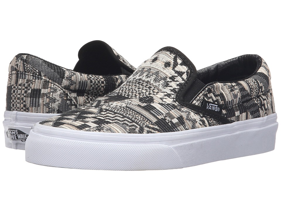 Vans Classic Slip-On ((Italian Weave) White/Black) Skate Shoes