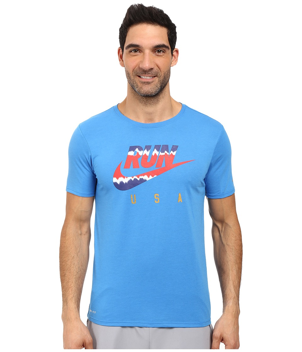 Nike International Running T-Shirt (Light Photo Blue/Reflective) Men