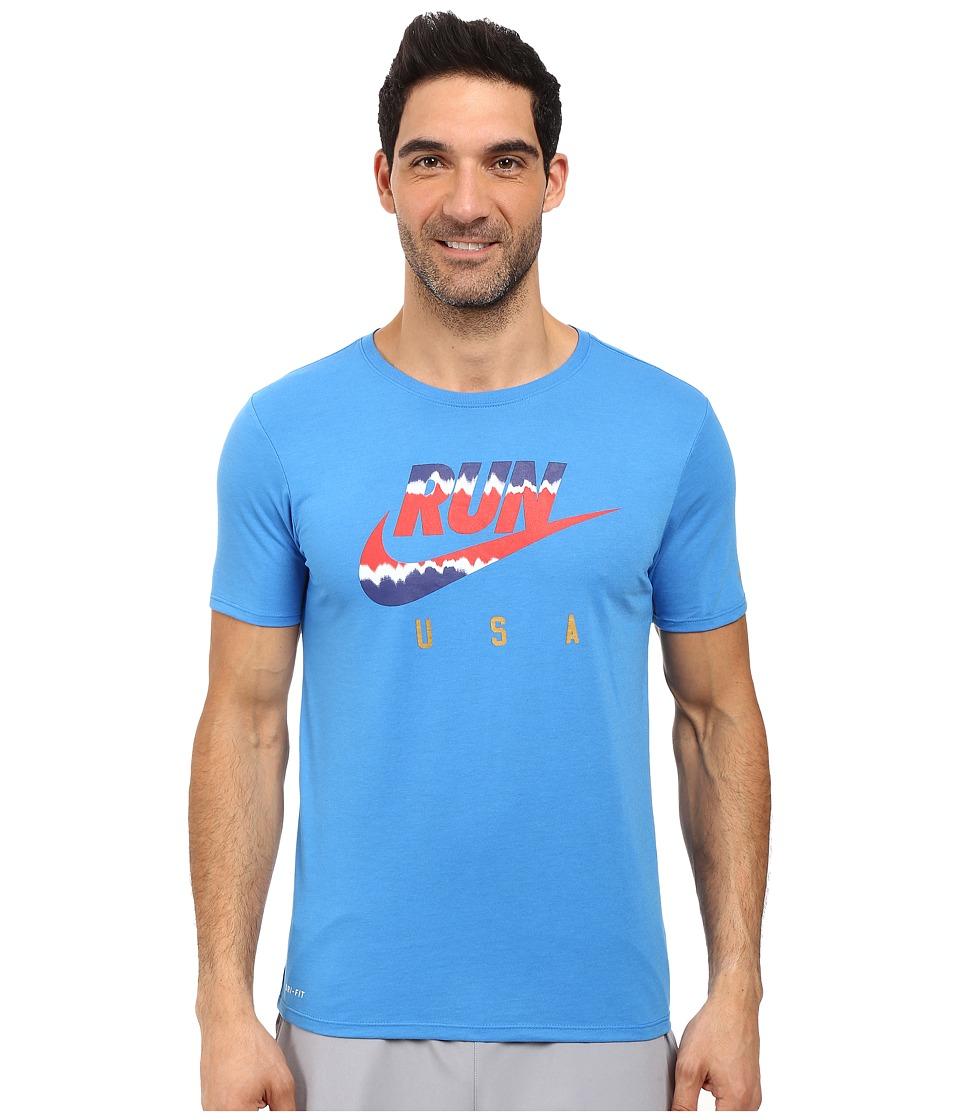 Nike - International Running T-Shirt (Light Photo Blue/Reflective) Men's Clothing