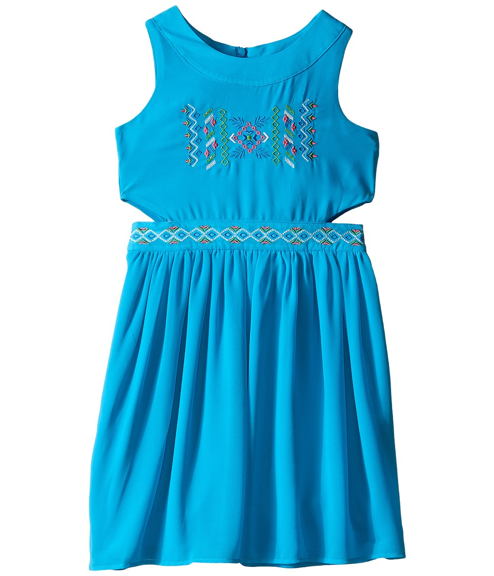 Us Angels - Georgette Tank Ringer w/ Cut Out Bodice Full Skirt (Big Kids) (Blue) Girl's Dress