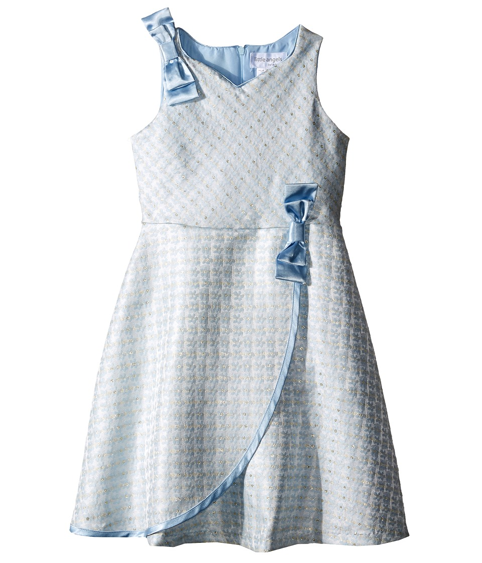 Us Angels - Brocade Sleeveless Dress w/ Satin Ribbon Trim (Toddler/Little Kids) (Blue) Girl's Dress
