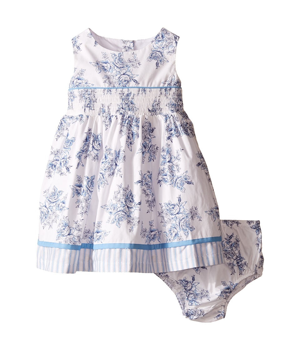 Us Angels - Cotton Poplin Tank Dress w/ Smock Waist Full Skirt (Infant) (White) Girl's Dress