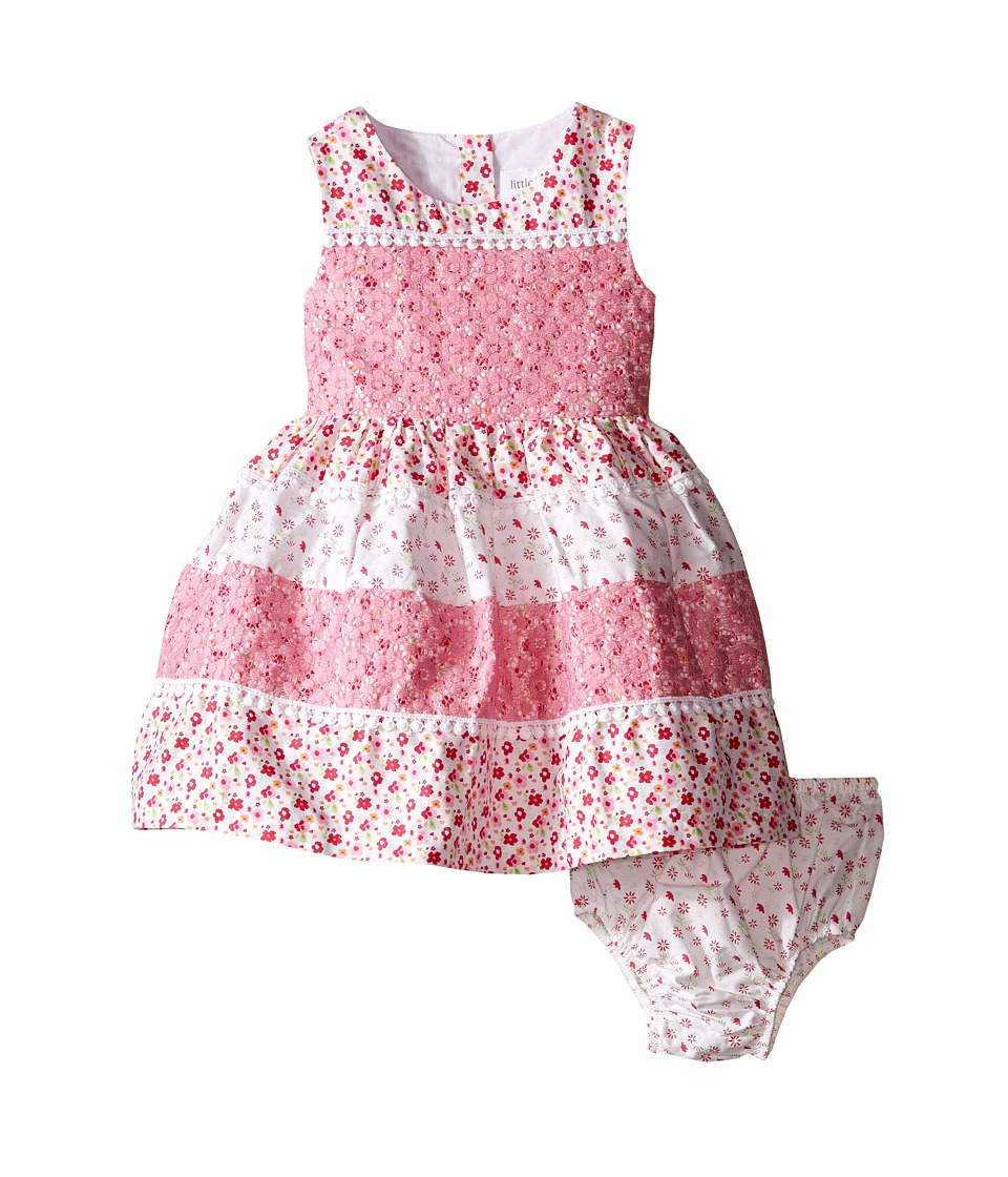 Us Angels - Cotton Poplin Lace Sleeveless Sundress w/ Full Skirt (Infant) (Pink) Girl's Dress
