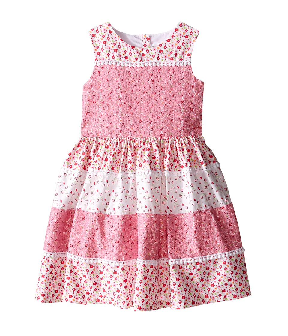 Us Angels - Cotton Poplin Lace Sleeveless Sundress w/ Full Skirt (Toddler/Little Kids) (Pink) Girl's Dress