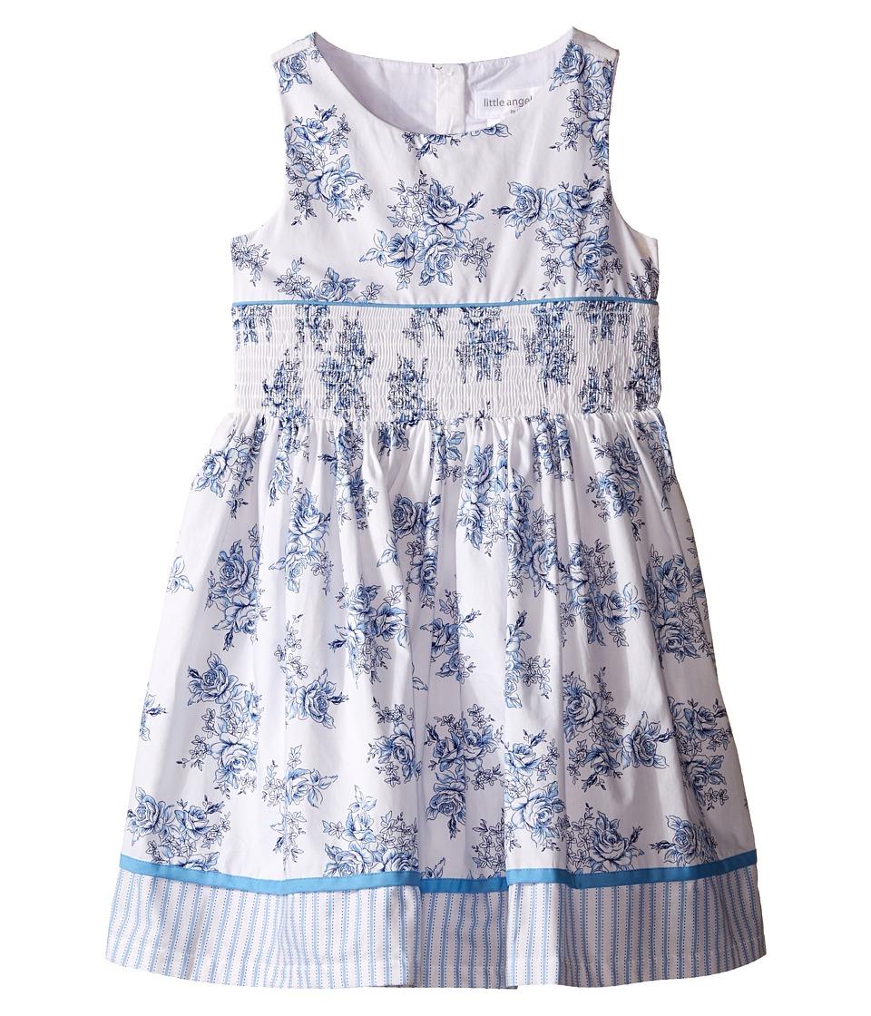 Us Angels - Cotton Poplin Tank Dress w/ Smock Waist Full Skirt (Toddler/Little Kids) (White) Girl's Dress