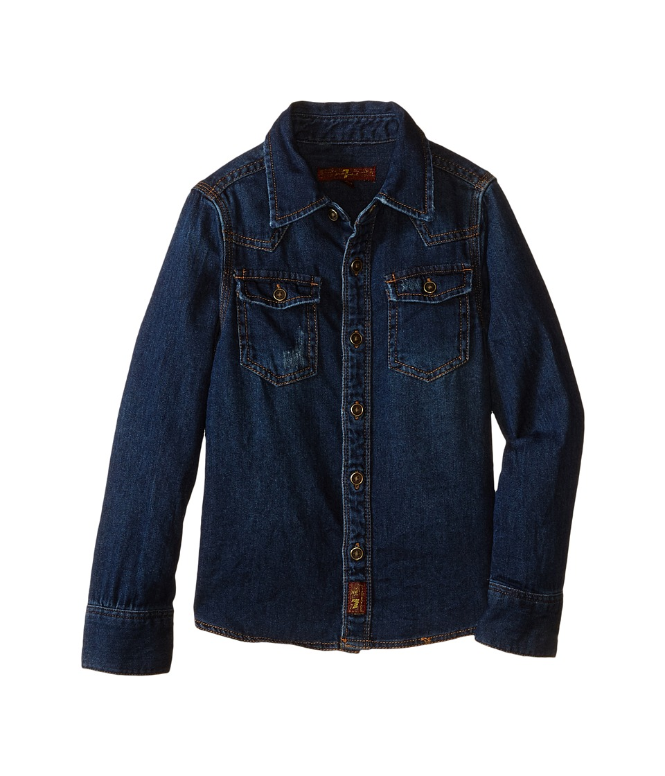 7 For All Mankind Kids - Long Sleeve Distressed Denim Button Down Shirt in Dark Indigo (Little Kids/Big Kids) (Bonzai Blue) Boy's Long Sleeve Button Up