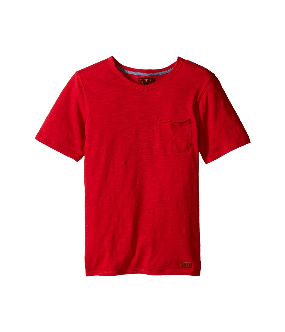 7 For All Mankind Kids - Short Sleeve Slub Jersey V-Neck Pocket T-Shirt (Big Kids) (Royal/Red) Boy's Short Sleeve Pullover