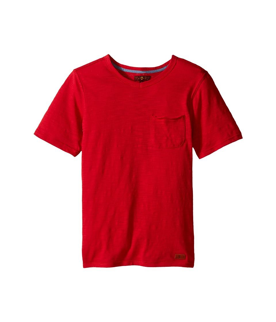7 For All Mankind Kids - Short Sleeve Slub Jersey V-Neck Pocket T-Shirt (Big Kids) (Royal/Red) Boy's Short Sleeve Pullover