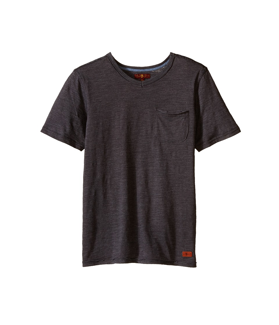 7 For All Mankind Kids - Short Sleeve Slub Jersey V-Neck Pocket T-Shirt (Big Kids) (Heather Charcoal) Boy's Short Sleeve Pullover