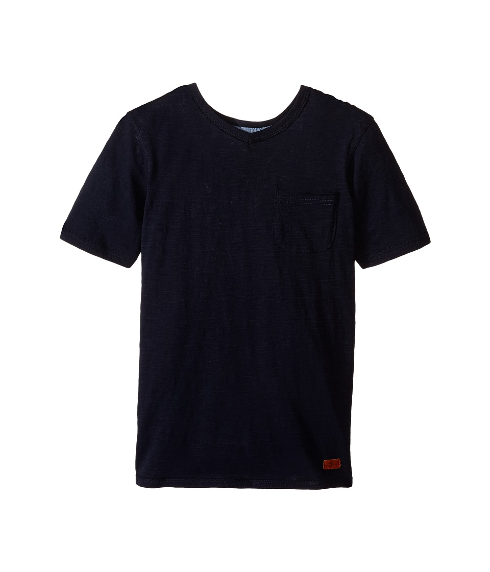 7 For All Mankind Kids - Short Sleeve Slub Jersey V-Neck Pocket T-Shirt (Big Kids) (Night Sky) Boy's Short Sleeve Pullover