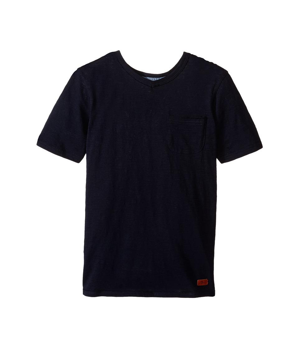 7 For All Mankind Kids - Short Sleeve Slub Jersey V-Neck Pocket T-Shirt (Big Kids) (Night Sky) Boy's Short Sleeve Pullover