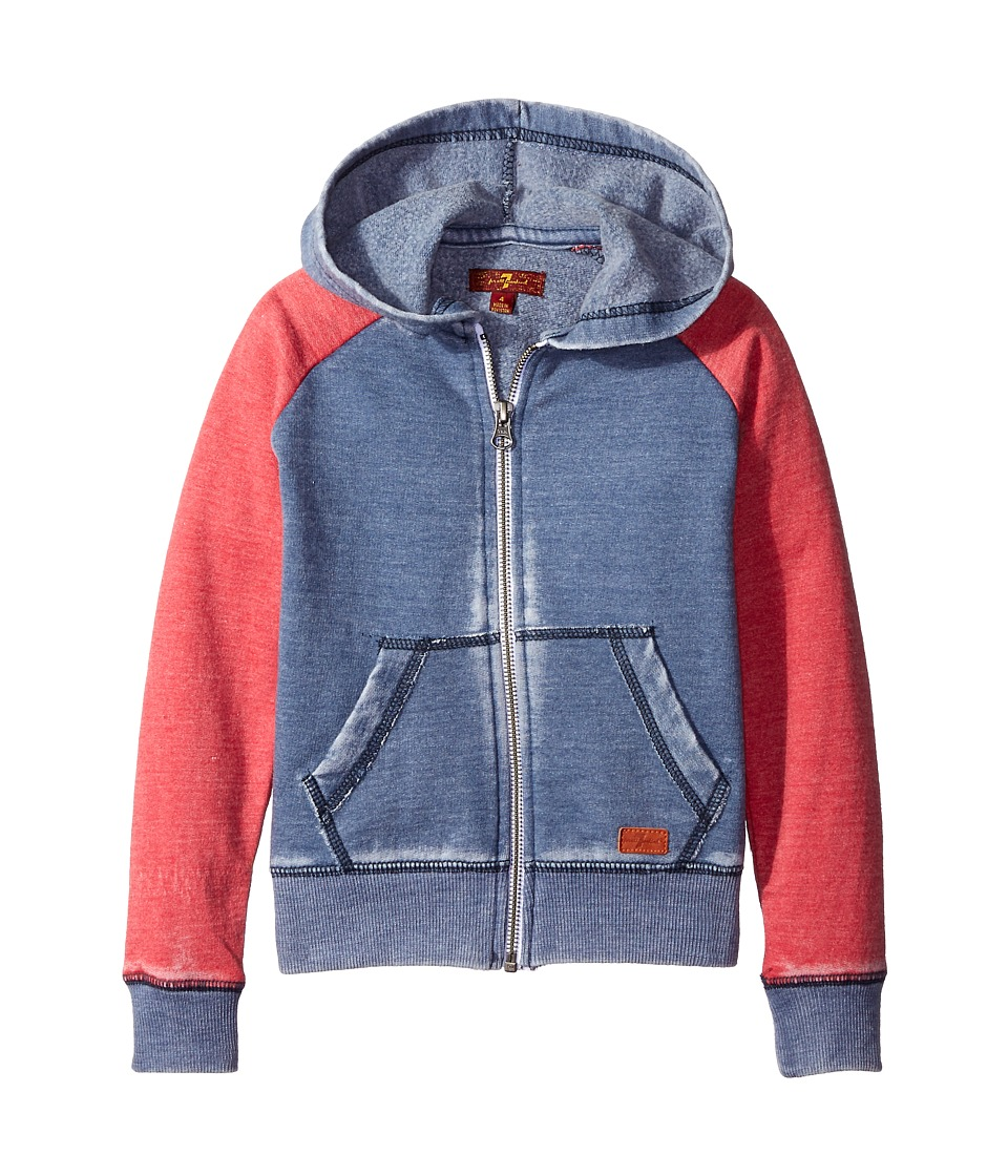 7 For All Mankind Kids - Hooded Full Zip Fleece Lined Color Block Burnout Sweatshirt (Big Kids) (Vintage Indigo/Royal Red) Boy's Sweatshirt