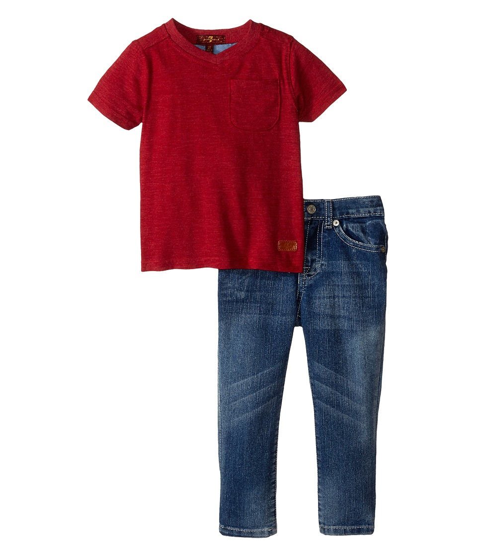 7 For All Mankind Kids - Standard Jeans and Short Sleeve V-Neck Slub Jersey Pocket T-Shirt (Toddler) (Royal/Red) Boy's Active Sets