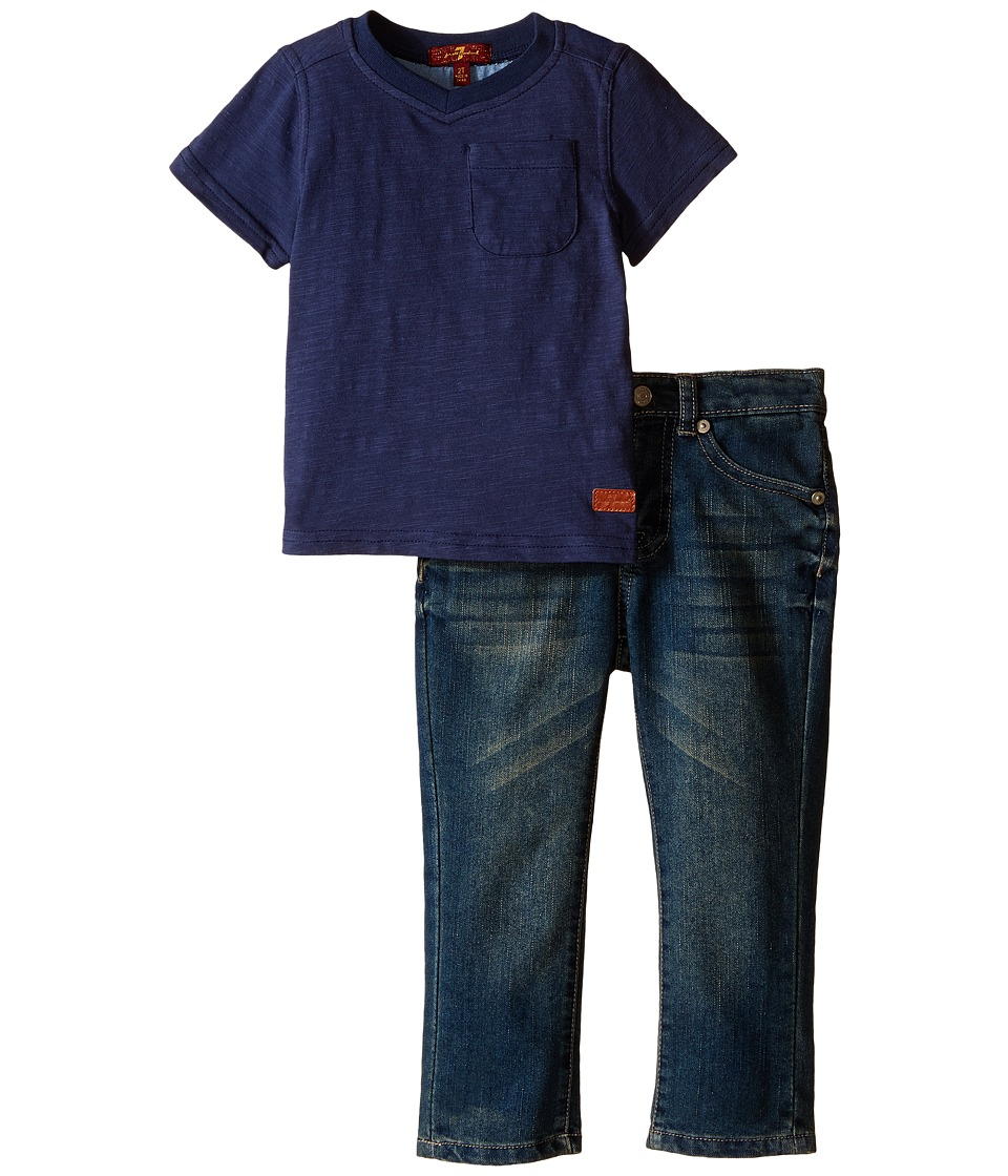 7 For All Mankind Kids - Standard Jeans and Short Sleeve V-Neck Slub Jersey Pocket T-Shirt (Toddler) (Vintage Indigo) Boy's Active Sets