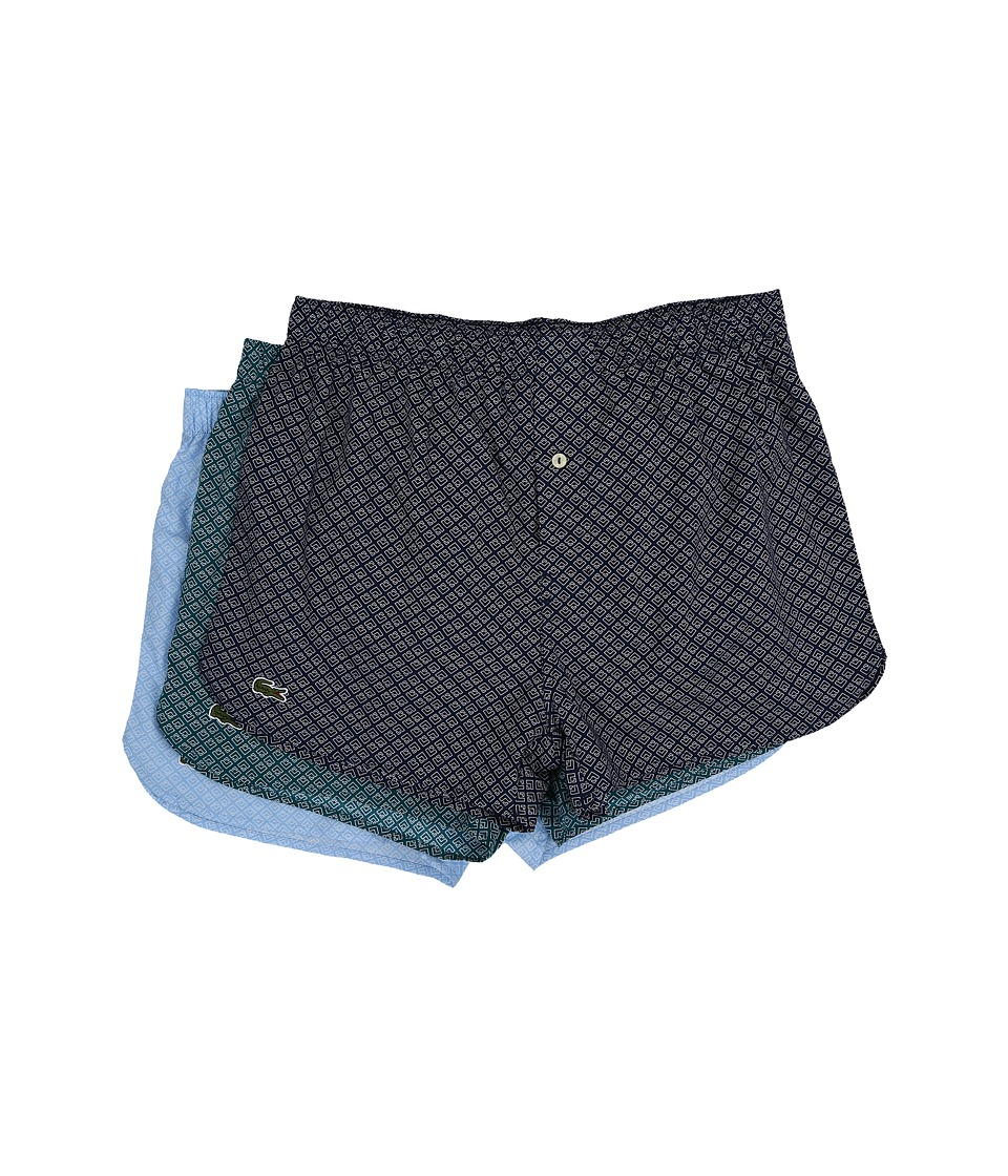 Lacoste - Authentics Woven Boxer 3-Pack (Navy/Bluegrass/Light Blue) Men's Underwear