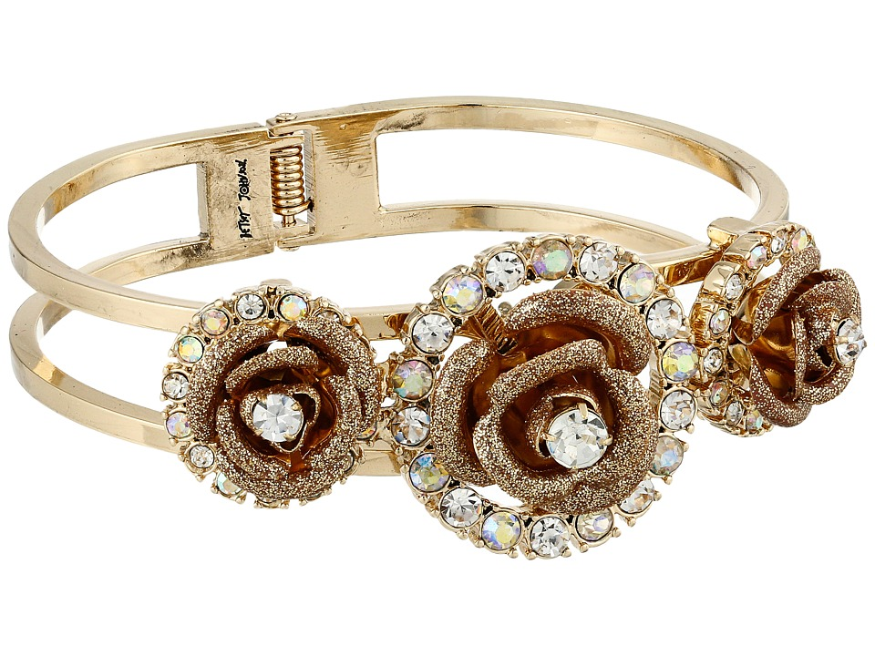 Betsey Johnson - Luminous Betsey Rose Hinge Bracelet (Gold) Bracelet