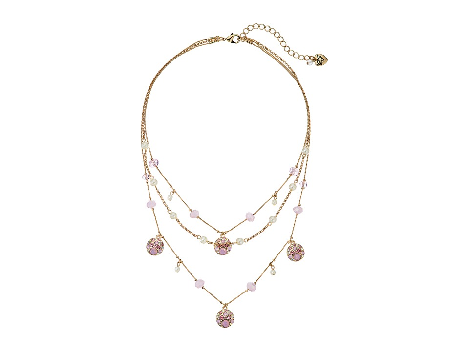 Betsey Johnson - Memoirs of Betsey Pearl Pink Illusion Necklace (Pink) Necklace