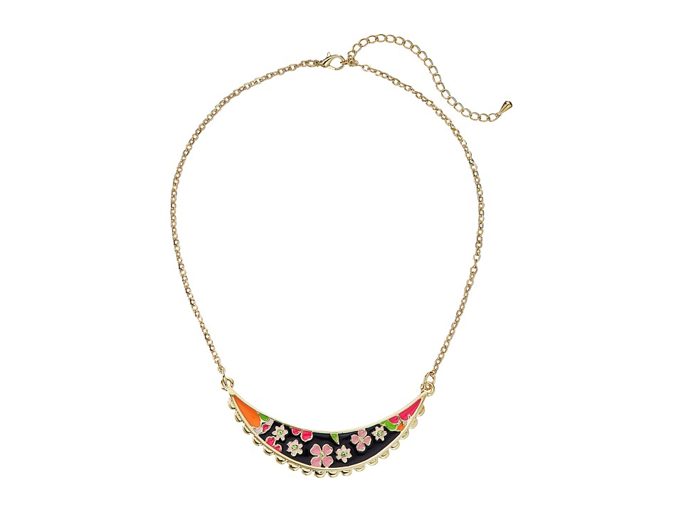 Betsey Johnson - Memoirs of Betsey Floral Smile Necklace (Black/Pink) Necklace