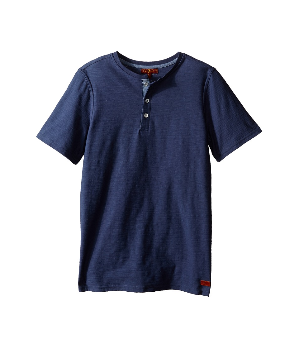 7 For All Mankind Kids - Short Sleeve Slub Jersey Henley T-Shirt (Big Kids) (Indigo) Boy's T Shirt