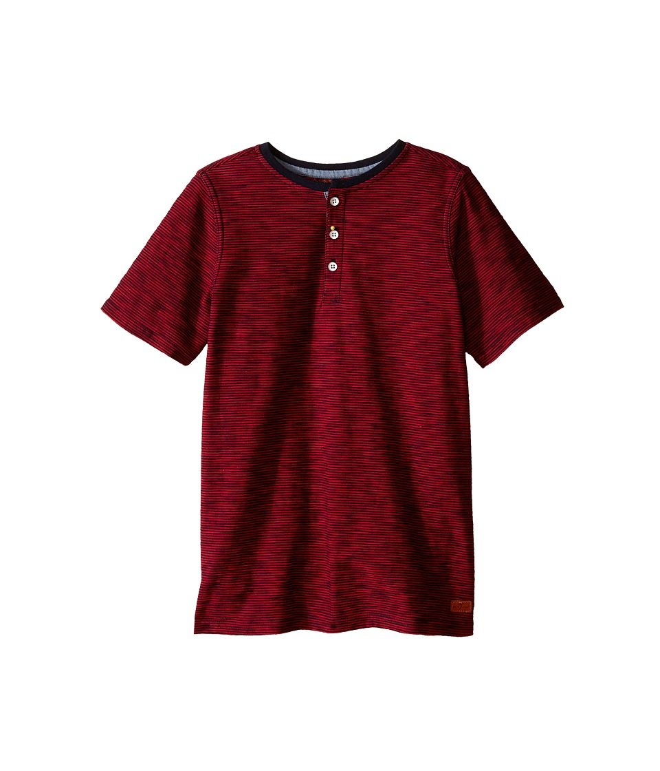 7 For All Mankind Kids - Short Sleeve Slub Jersey Henley T-Shirt (Big Kids) (Red Stripe) Boy's T Shirt