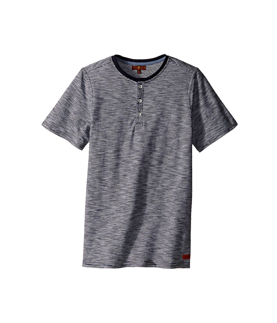 7 For All Mankind Kids - Short Sleeve Slub Jersey Henley T-Shirt (Big Kids) (Night Sky Stripe) Boy