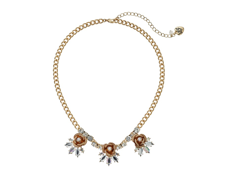 Betsey Johnson - Luminous Betsey Glitter Rose Necklace (Gold) Necklace