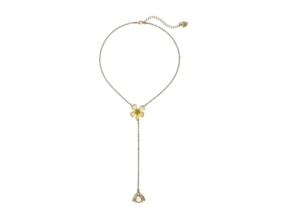 Betsey Johnson - Luminous Betsey Flower/Bug Y-Necklace (Yellow) Necklace