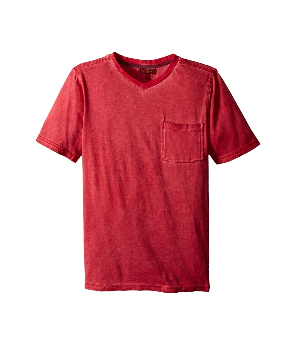 7 For All Mankind Kids - Mineral Wash V-Neck Knit Jersey Pocket T-Shirt (Big Kids) (Royal/Red) Boy's T Shirt