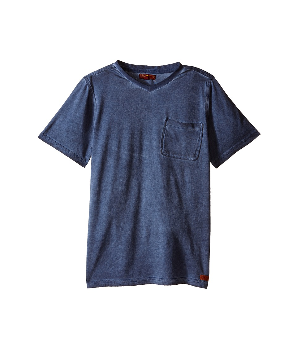 7 For All Mankind Kids - Mineral Wash V-Neck Knit Jersey Pocket T-Shirt (Big Kids) (Vintage Indigo) Boy's T Shirt