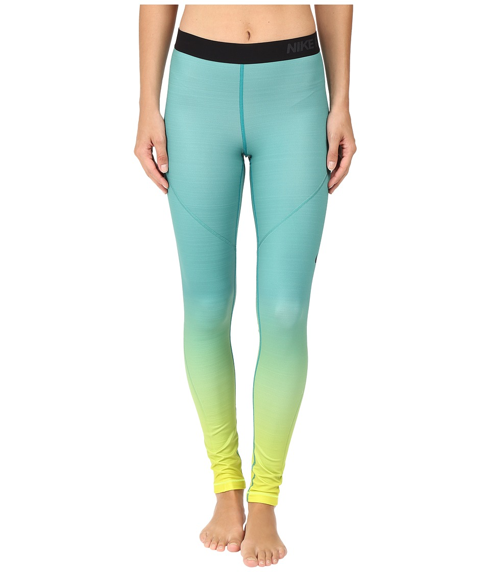 Nike - Pro Hyperwarm Training Tight (Volt/Rio Teal/Black/Black) Women's Workout