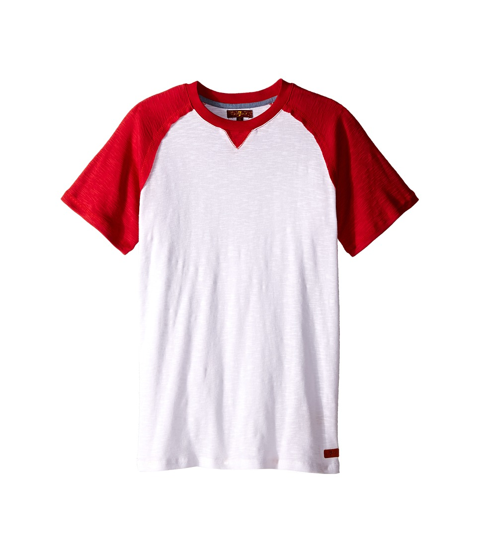 7 For All Mankind Kids - Short Sleeve Crew Neck Slub Jersey Baseball T-Shirt (Big Kids) (Royal/Red/White) Boy's T Shirt