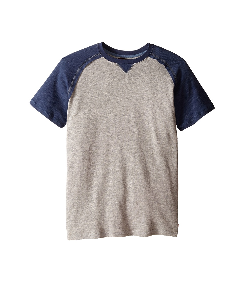 7 For All Mankind Kids - Short Sleeve Crew Neck Slub Jersey Baseball T-Shirt (Big Kids) (Vintage Indigo/Grey) Boy's T Shirt