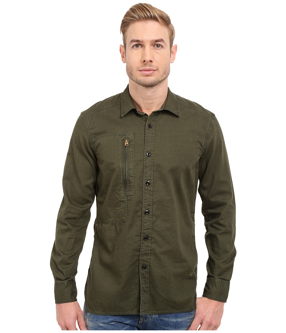 G-Star - Powel 3D Long Sleeve Shirt in Lightweight Lopp Overdye (Sage/Bright Rovic Green) Men's Long Sleeve Button Up