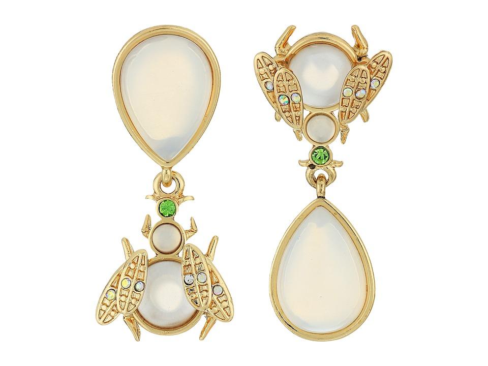 Betsey Johnson - Luminous Betsey Opal Bug Non-Matching Earrings (White) Earring