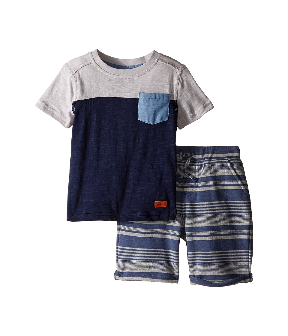 7 For All Mankind Kids - Four-Pocket French Terry Athletic Shorts and Short Sleeve Color Block T-Shirt (Toddler) (Heather Grey) Boy's Active Sets